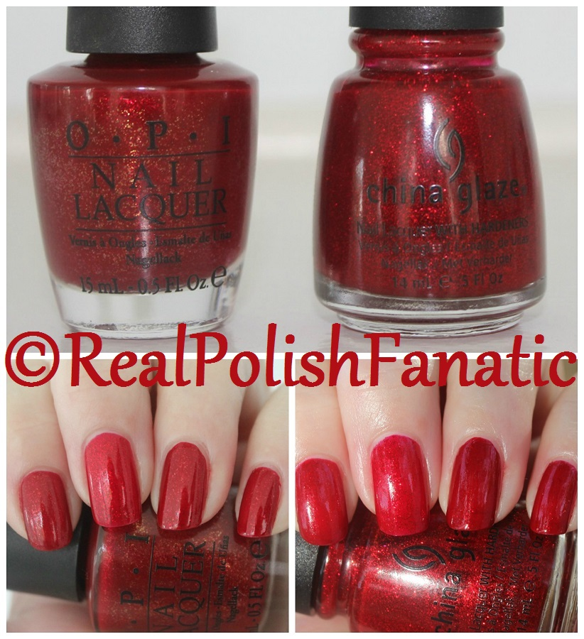 Comparison: OPI Smitten With Mittens & China Glaze Ruby Pumps ...