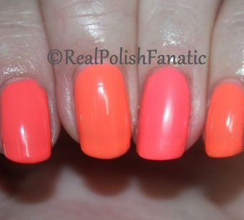 Comparison: Orly Summer Fling, China Glaze original Flip Flop Fantasy and Trust Fund Beauty Game Changer
