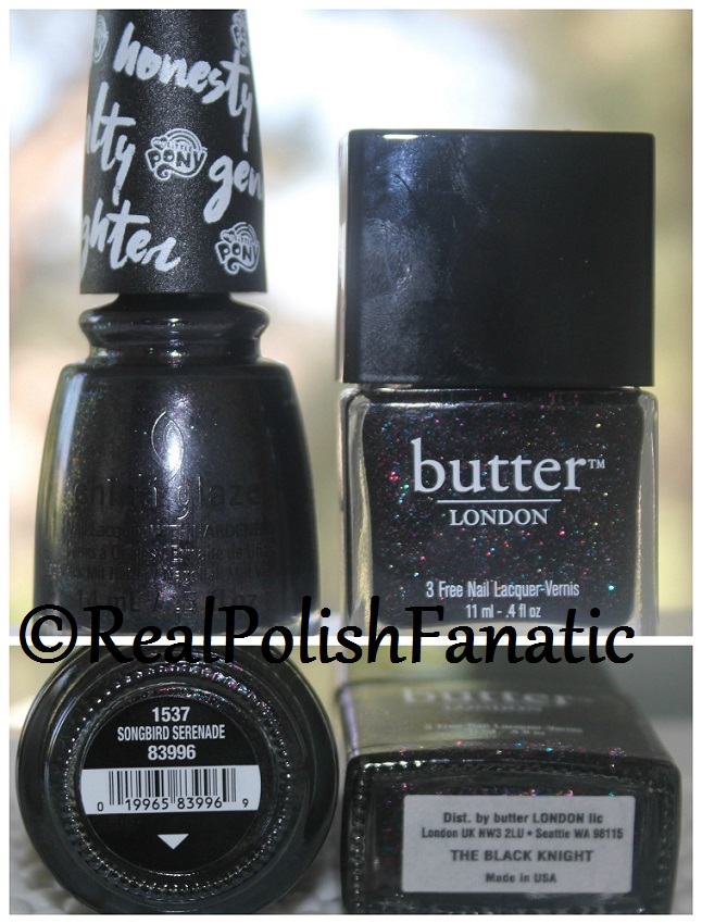 China Glaze Songbird Serenade & Butter London Black Knight Comparison