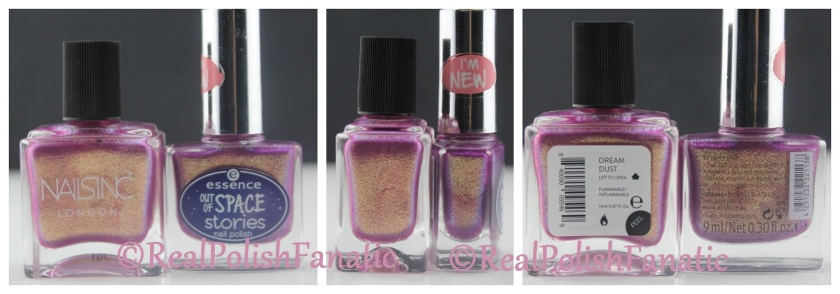 Comparison Nails inc Dream Dust vs Essence Space Glam