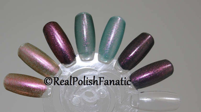 Comparison: Hard Candy Beetle - Orly Space Cadet - Blackheart Beauty Oil Slick Iridescent - Cult Nails Masquerade