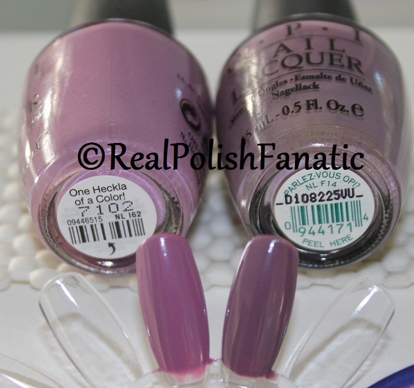 Comparison - OPI One Heckla Of A Color vs Parlez Vous OPI