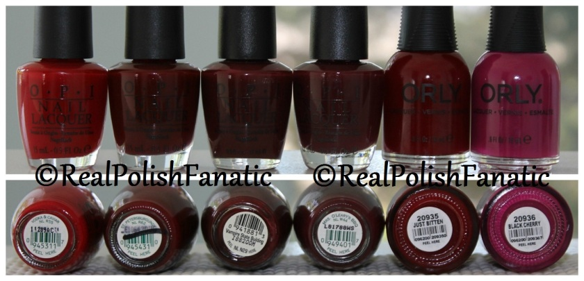 Orly Just Bitten -- Comps with other red OPI's