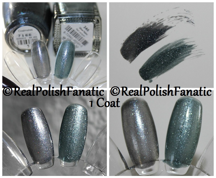 Comparison -- OPI Coalmates VS Misa Silver Rains 1 coat