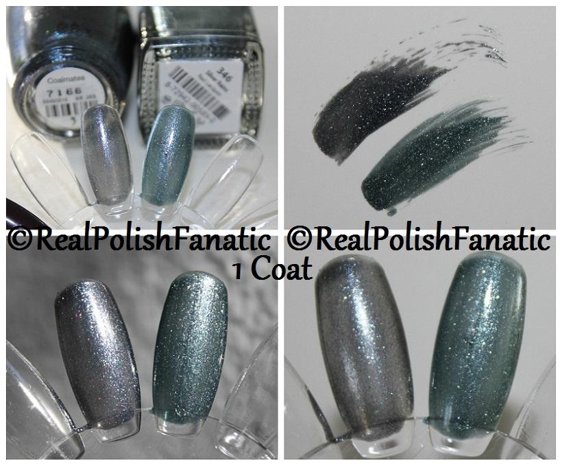 Comparison -- OPI Coalmates VS Misa Silver Rains 1 coat
