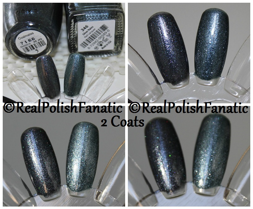 Comparison -- OPI Coalmates VS Misa Silver Rains 2 coats