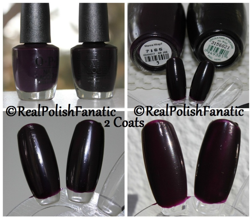 Comparison -- OPI Wanna Wrap? VS OPI Lincoln Park After Dark