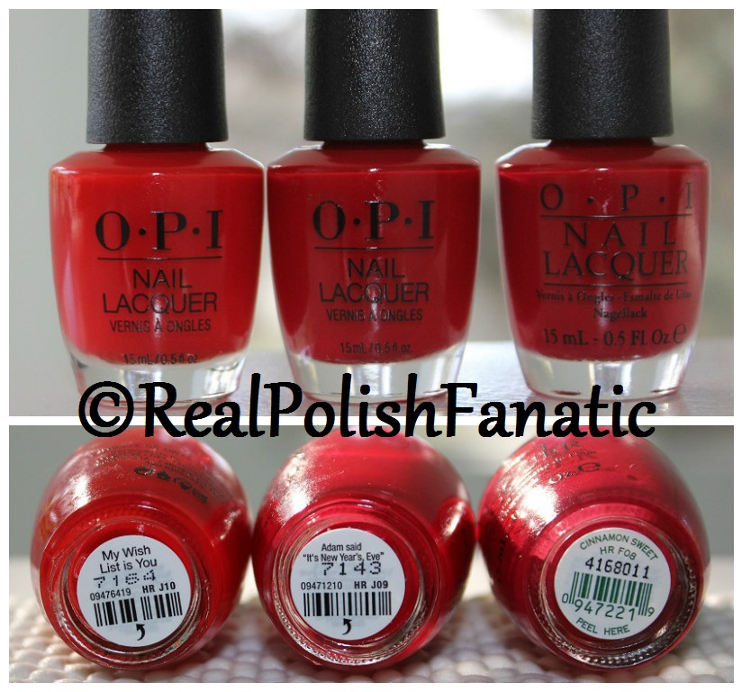 OPI Red Comparison -- My Wish List Is You vs Adam said, It's New Year's Eve vs Cinnamon Sweet