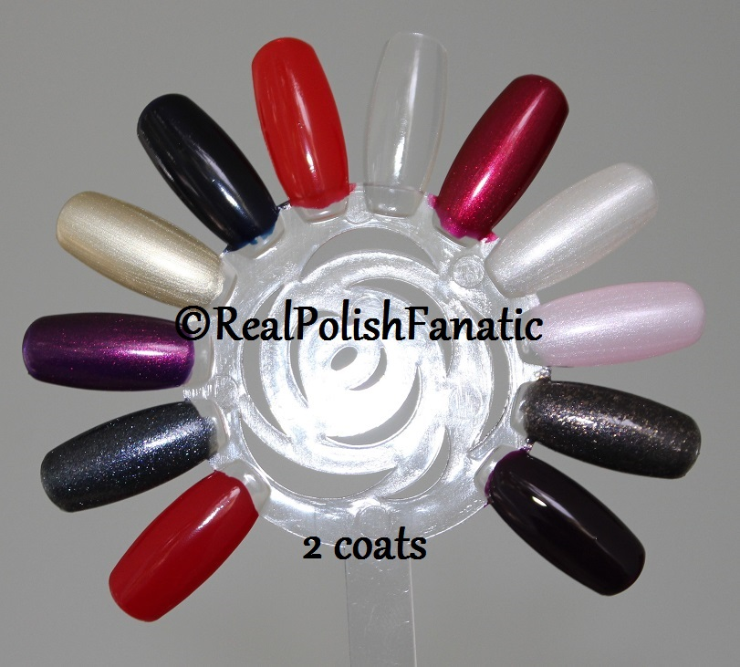 OPI XOXO Holiday 2017 Collection - 2 coats on swatch wheel (1)