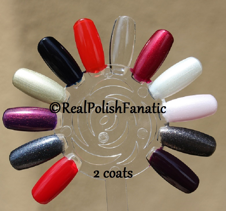 OPI XOXO Holiday 2017 Collection - 2 coats on swatch wheel (7)