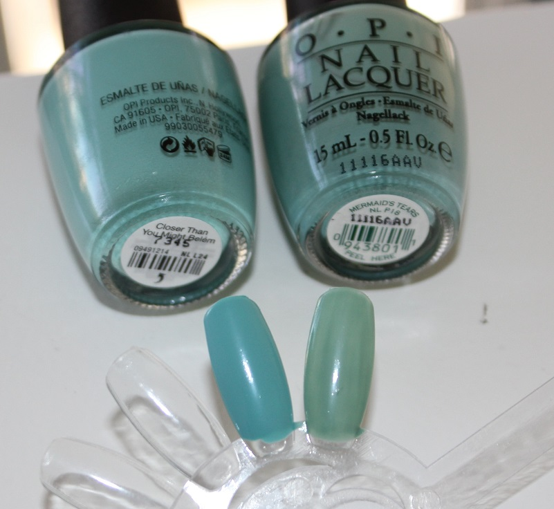 Comparison -- OPI Closer Than You Might Belem vs. OPI Mermaid's Tears (3)