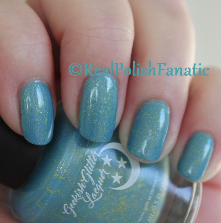 Geekish Glitter Lacquer - Keep Warm With Vault-tec! -- Bethesda Collab box with Bees Knees Lacquer (11)