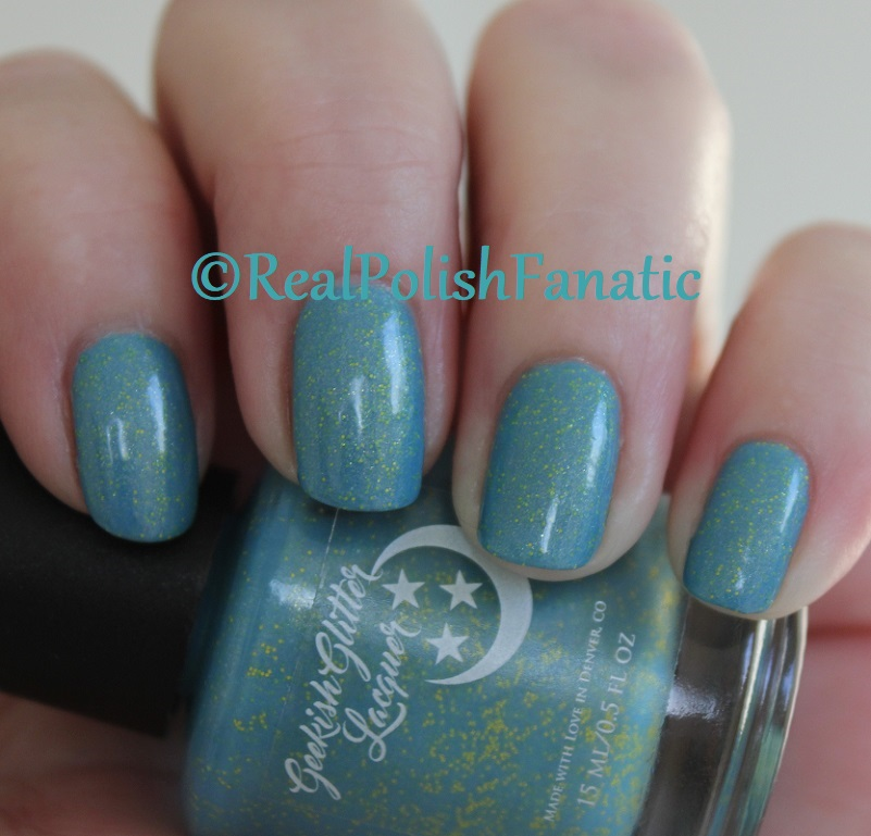 Geekish Glitter Lacquer - Keep Warm With Vault-tec! -- Bethesda Collab box with Bees Knees Lacquer (13)