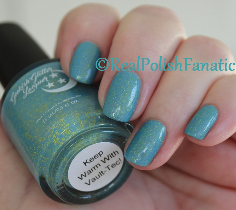 Geekish Glitter Lacquer - Keep Warm With Vault-tec! -- Bethesda Collab box with Bees Knees Lacquer (14)