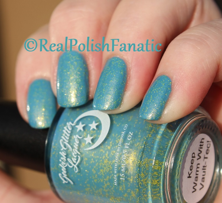 Geekish Glitter Lacquer - Keep Warm With Vault-tec! -- Bethesda Collab box with Bees Knees Lacquer (26)