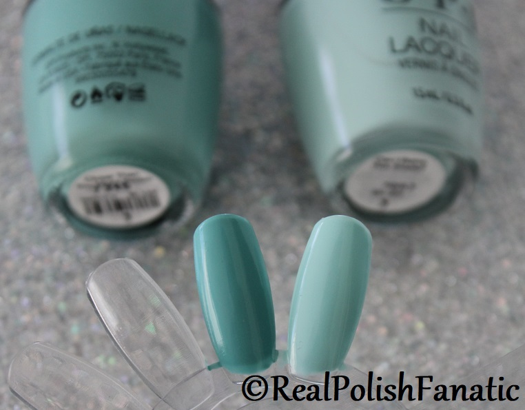 Comparison -- OPI Lisbon Shades - Closer Than You Might Belem vs. Can I Bairro This Shade (3)