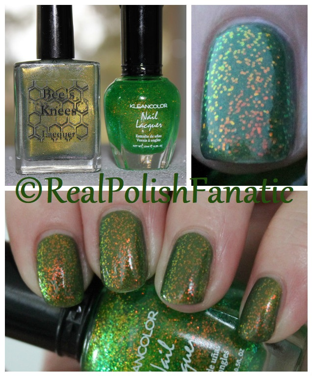 Bees Knees Lacquer Malacath and Kleancolor Chunky Holo Clover