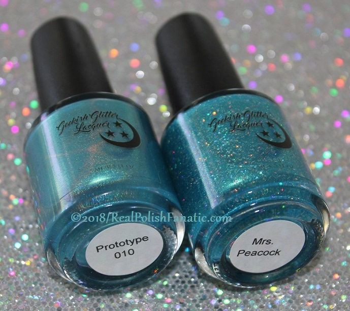 Comparison -- Geekish Glitter Lacquer - Prototype 010 vs Mrs. Peacock (2)