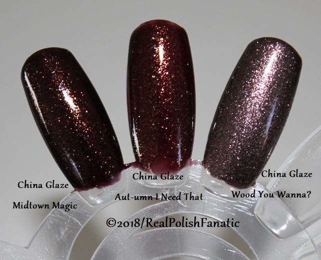 Comparison All China Glaze - Midtown Magic VS. Aut-umn I Need That VS. Wood You Wanna (1)
