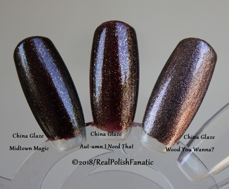 Comparison All China Glaze - Midtown Magic VS. Aut-umn I Need That VS. Wood You Wanna (2)