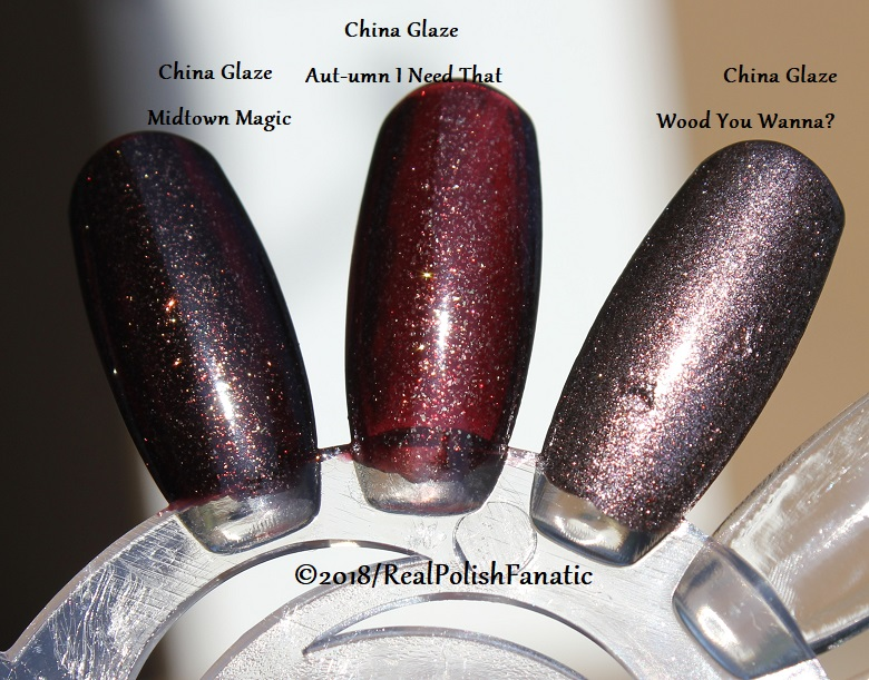 Comparison All China Glaze - Midtown Magic VS. Aut-umn I Need That VS. Wood You Wanna (3)