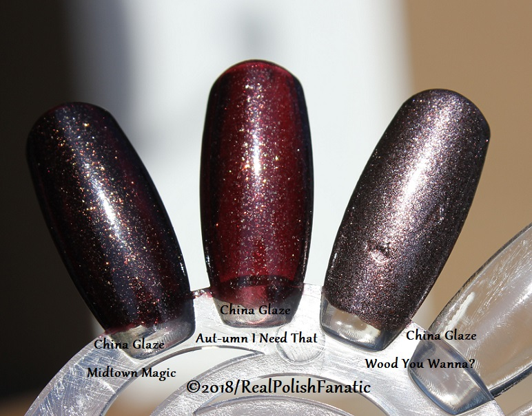 Comparison All China Glaze - Midtown Magic VS. Aut-umn I Need That VS. Wood You Wanna (4)