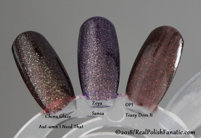 Comparison -- China Glaze - Aut-umn I Need That -- Ready To Wear FW 18 Collection --- Comp with Zoya Sansa & OPI Teasy Does It (1)