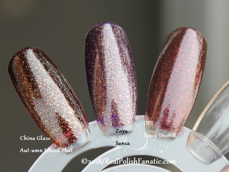 Comparison -- China Glaze - Aut-umn I Need That -- Ready To Wear FW 18 Collection --- Comp with Zoya Sansa & OPI Teasy Does It (2)