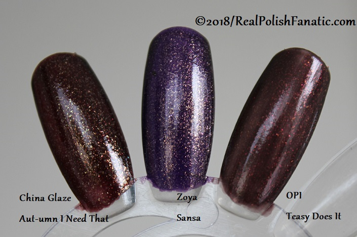 Comparison -- China Glaze - Aut-umn I Need That -- Ready To Wear FW 18 Collection --- Comp with Zoya Sansa & OPI Teasy Does It (3)