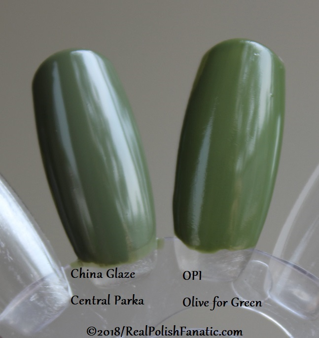 Comparison -- China Glaze - Central Parka -- Ready To Wear FW 18 Collection --- Comp with OPI Olive for Green (2)
