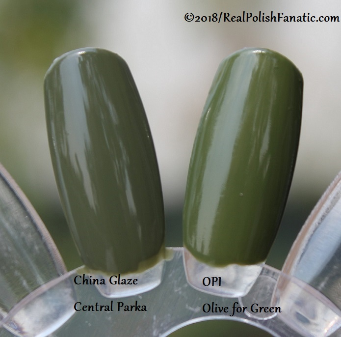 Comparison -- China Glaze - Central Parka -- Ready To Wear FW 18 Collection --- Comp with OPI Olive for Green (3)