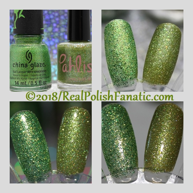 Comparison -- China Glaze Grinchworthy vs Pahlish Mummys Boy