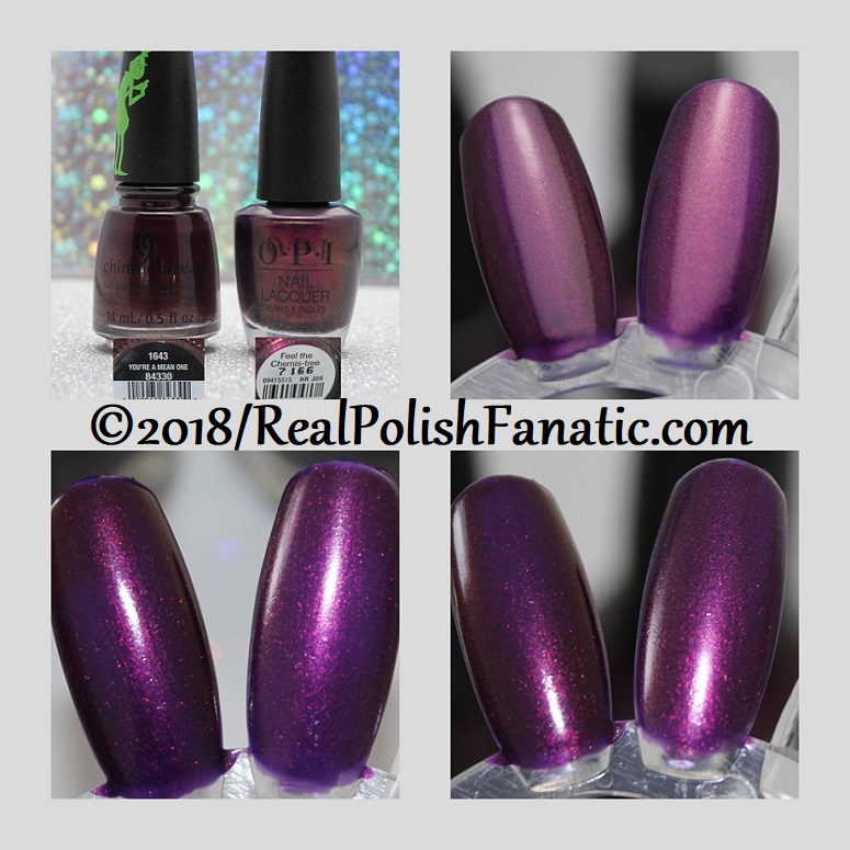 Comparison -- China Glaze You're A Mean One vs OPI Feel the Chemis-tree
