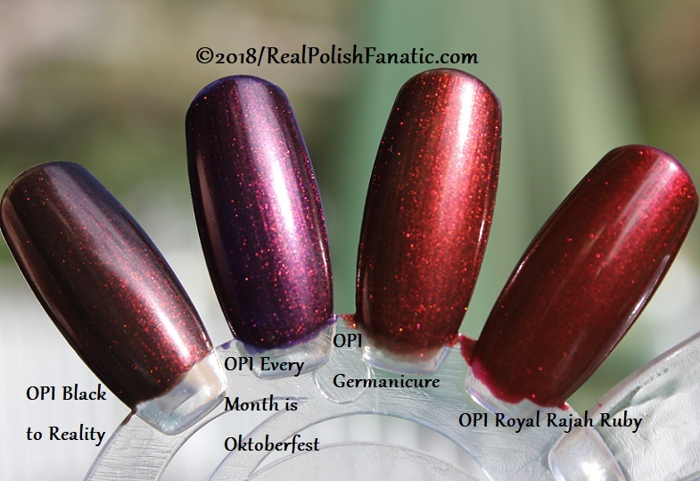 Comparison - OPI Black to Reality vs OPI EMiO vs OPI Germanicure vs OPI Royal Rajah Ruby (1)