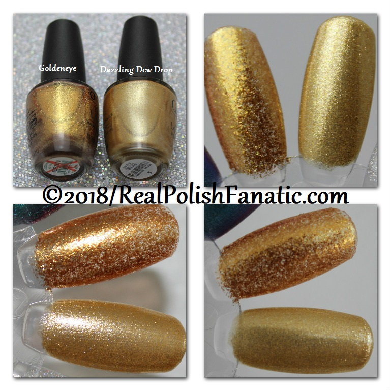 Comparison - OPI Goldeneye vs OPI Dazzling Dew Drop