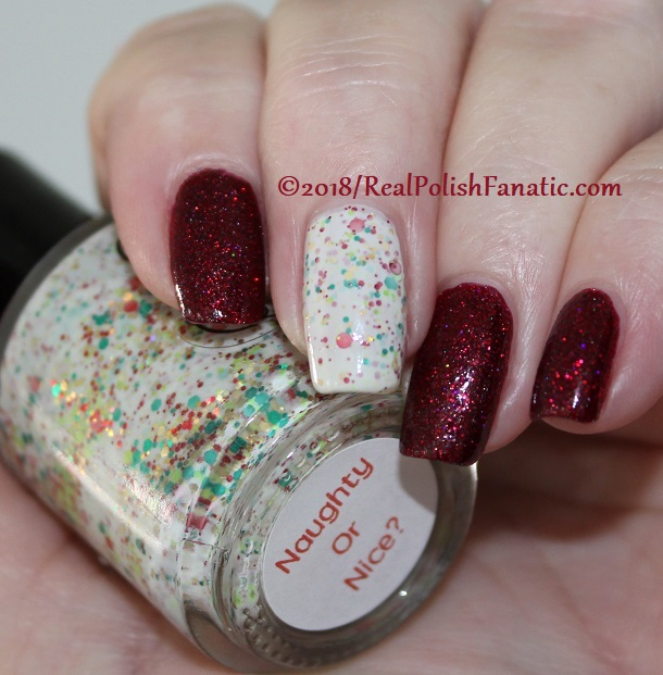 12-24-2018 Geekish Glitter Lacquer - All Is Calm, All Is Bright, Who Is In My House Tonight with Noodles Nail Polish - Naughty or Nice (8)