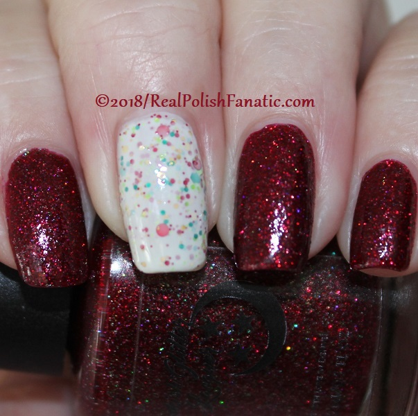 Geekish Glitter Lacquer - All Is Calm, All Is Bright, Who Is In My House Tonight with Noodles Nail Polish - Naughty or Nice (4)