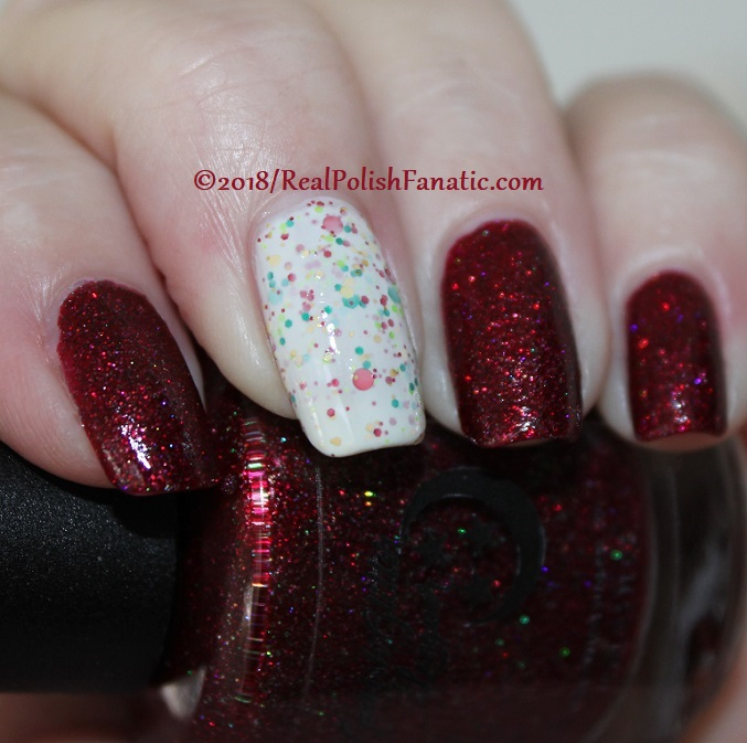 Geekish Glitter Lacquer - All Is Calm, All Is Bright, Who Is In My House Tonight with Noodles Nail Polish - Naughty or Nice (5)