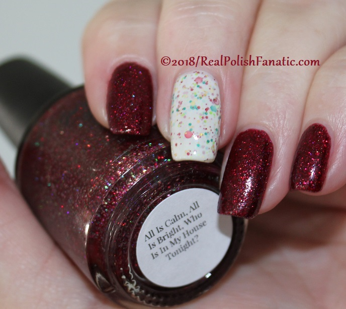 Geekish Glitter Lacquer - All Is Calm, All Is Bright, Who Is In My House Tonight with Noodles Nail Polish - Naughty or Nice (6)