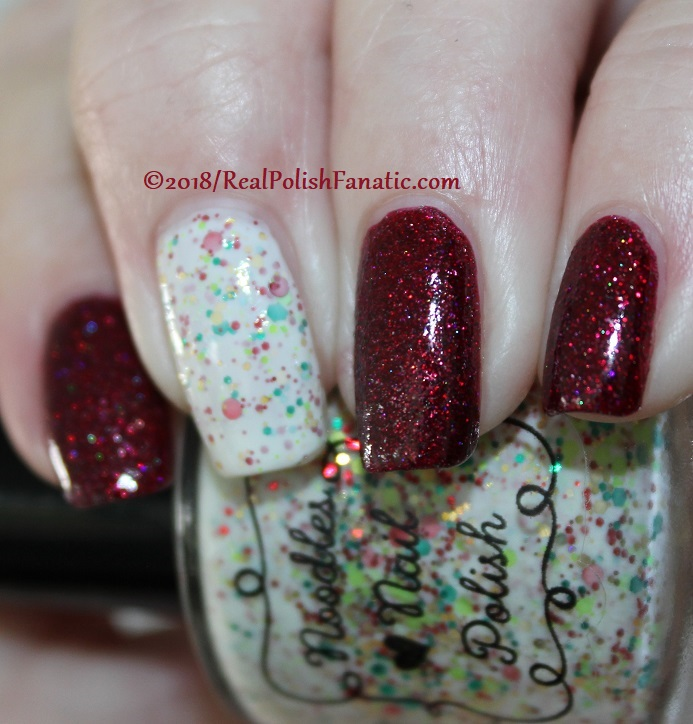 Geekish Glitter Lacquer - All Is Calm, All Is Bright, Who Is In My House Tonight with Noodles Nail Polish - Naughty or Nice (7)