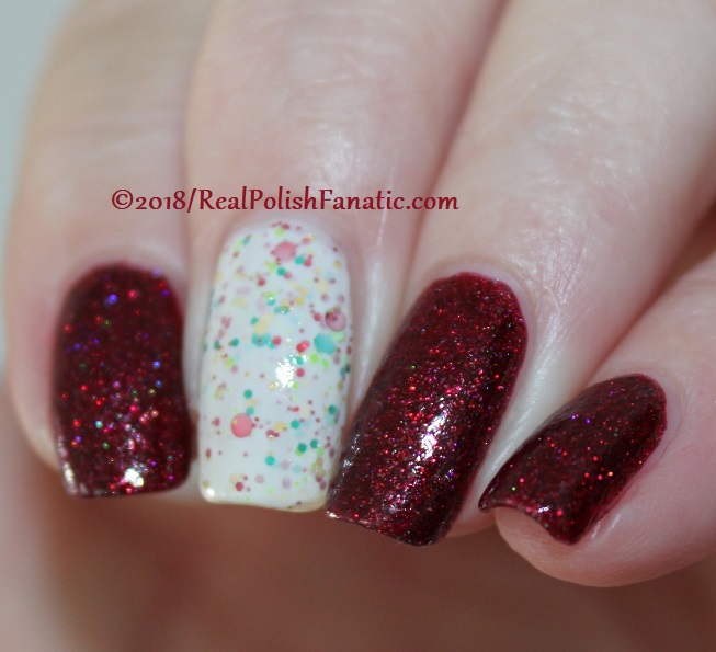 Geekish Glitter Lacquer - All Is Calm, All Is Bright, Who Is In My House Tonight with Noodles Nail Polish - Naughty or Nice (9)
