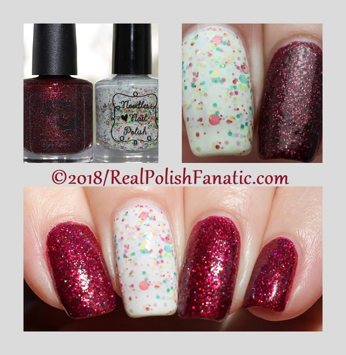 Geekish Glitter Lacquer - All Is Calm, All Is Bright, Who Is In My House Tonight with Noodles Nail Polish - Naughty or Nice