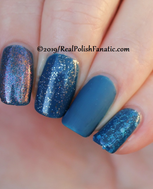 China Glaze - Saved By The Bluebell with Better Than Nectar, Wildflower Hour, Matte topcoat, jelly sandwich with OPI Serving Up Sparkle -- The Arrangement Collection Spring 2019 (13)