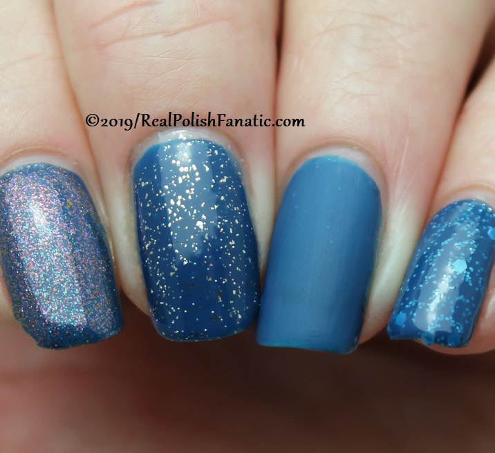 China Glaze - Saved By The Bluebell with Better Than Nectar, Wildflower Hour, Matte topcoat, jelly sandwich with OPI Serving Up Sparkle -- The Arrangement Collection Spring 2019 (3)