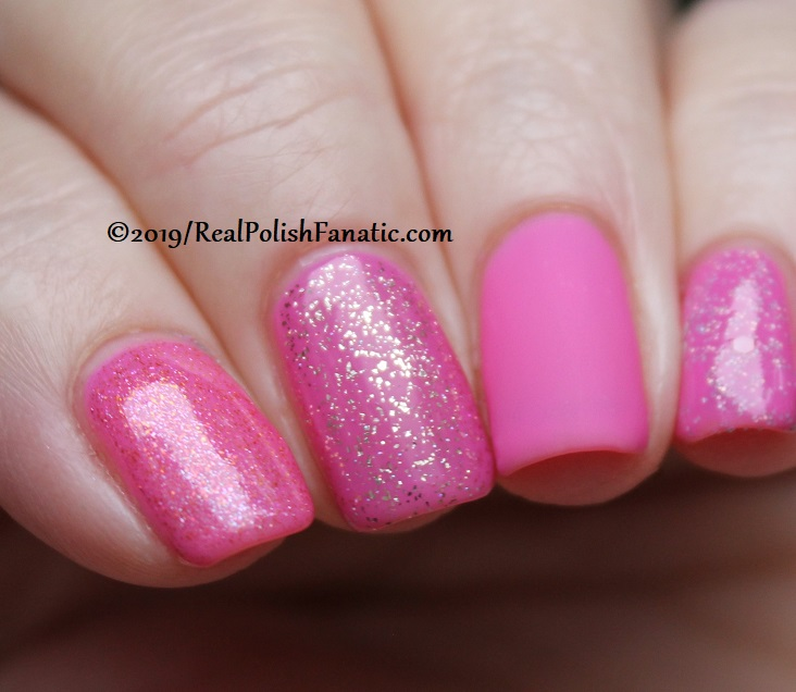 China Glaze - There She Rose Again with Better Than Nectar, Wildflower Hour, Matte topcoat, jelly sandwich with OPI Serving Up Sparkle -- The Arrangement Collection Spring 2019 (11)