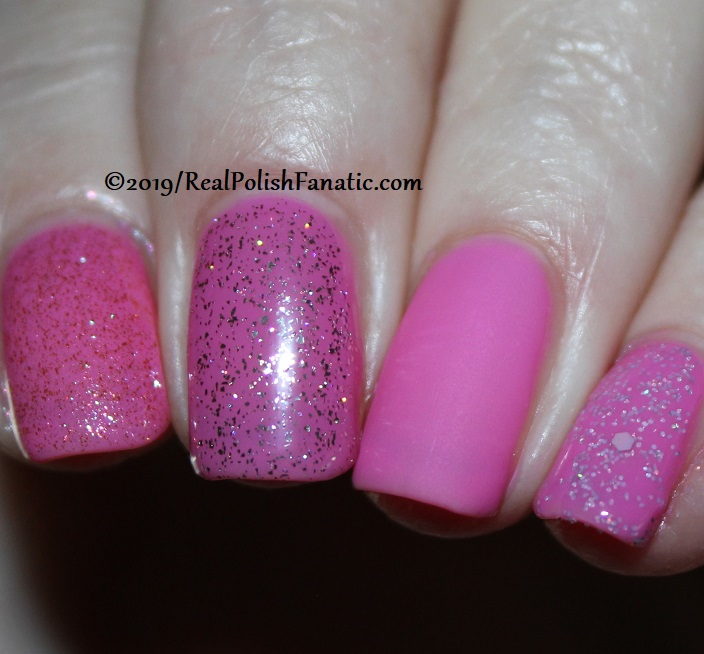 China Glaze - There She Rose Again with Better Than Nectar, Wildflower Hour, Matte topcoat, jelly sandwich with OPI Serving Up Sparkle -- The Arrangement Collection Spring 2019 (2.1) (5)
