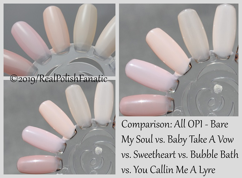 Comparison - OPI Bare My Soul vs. Baby Take A Vow vs. Sweetheart vs. Bubble Bath vs. You Callin MeA Lyre
