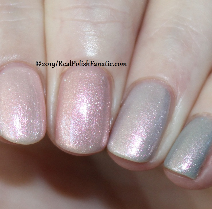 OPI Baby, Take a Vow (index), Bare My Soul (middle), Engage-meant to Be (ring), Ring Bare-er (pinkie) with Throw Me A Kiss (10)