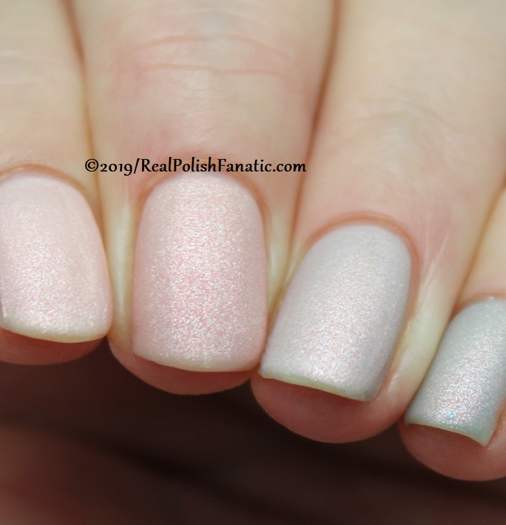 OPI Baby, Take a Vow (index), Bare My Soul (middle), Engage-meant to Be (ring), Ring Bare-er (pinkie) with Throw Me A Kiss (14)