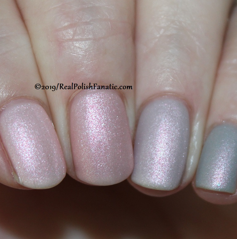 OPI Baby, Take a Vow (index), Bare My Soul (middle), Engage-meant to Be (ring), Ring Bare-er (pinkie) with Throw Me A Kiss (16)
